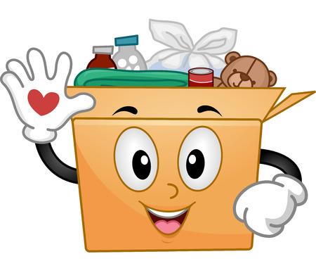 Mascot Illustration of a Donation Box Waving Stock Photo