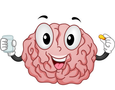 Mascot Illustration of a Brain Taking a Vitamin Supplement