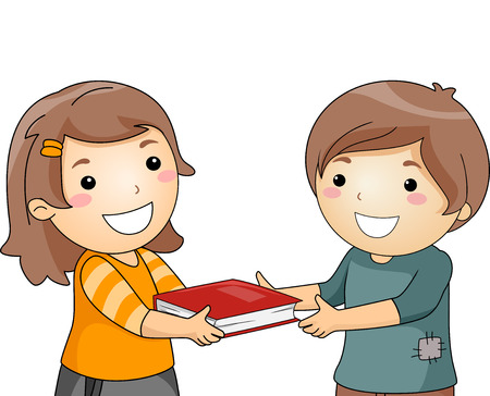 Illustration of a Little Girl Giving a Book to a Little Boy