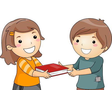 generosity: Ilustración de una niña dando un libro a un Niño Pequeño