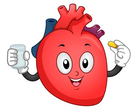 Mascot Illustration of a Heart Taking a Vitamin Supplement Stock Photo