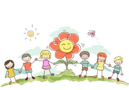 hand holding flower: Stickman Illustration of Kids Holding Hands with a Giant Flower