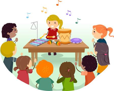 Stickman Illustratie van Kinderen die Muziekinstrumenten in Klasse afspelen