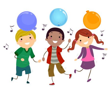 Stickman Illustration of Kids Dancing to Music