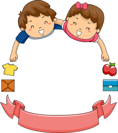 Illustration of Children and a Volunteer Ribbon Forming a Frame
