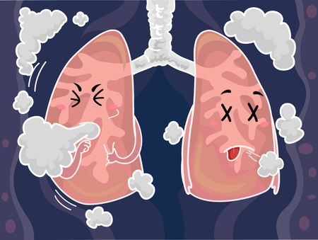 nicotine: Mascot Illustration of a Pair of Lungs Coughing After Inhaling Smoke Stock Photo