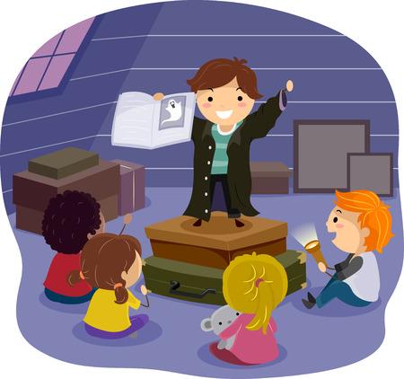 storyteller: Stickman Illustration of Children Listening to a Horror Story in the Attic Stock Photo