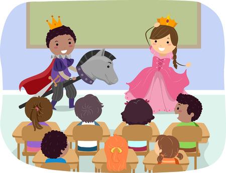 niños actuando: Ilustración stickman de los Niños de rol como un príncipe y una princesa