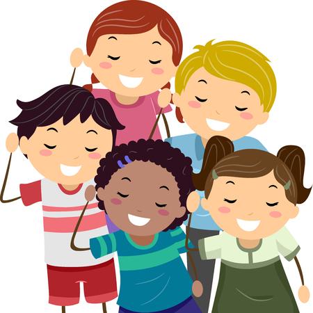 Ilustración stickman de niños que hacen el gesto de escucha
