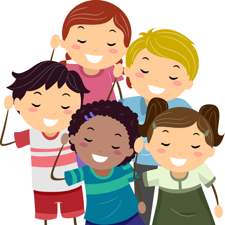 comunicacion no verbal: Ilustración stickman de niños que hacen el gesto de escucha