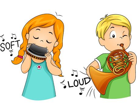 esl: Illustration of Children Playing Musical Instruments Stock Photo