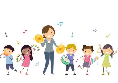 Stickman Illustratie van een leraar die muziekinstrumenten met haar studenten speelt