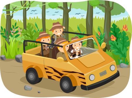 Stickman Illustration of Children on a Safari Trip Stock Photo
