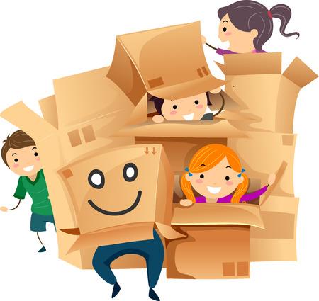 playmates: Ilustración stickman de niños jugando con cajas de cartón