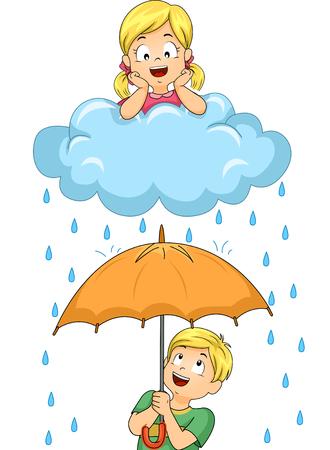 sotto la pioggia: Illustrazione di una piccola ragazza sdraiata su un Rain Cloud