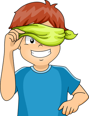 blindfolded: Illustration of a Blindfolded Kid Peeking from His Blindfold