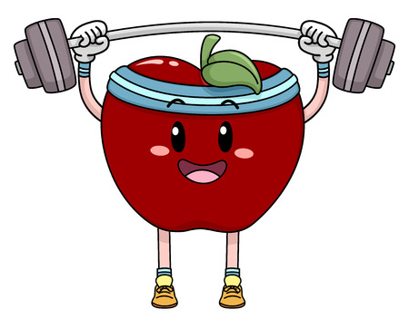 Mascot Illustration of an Apple Lifting Weights