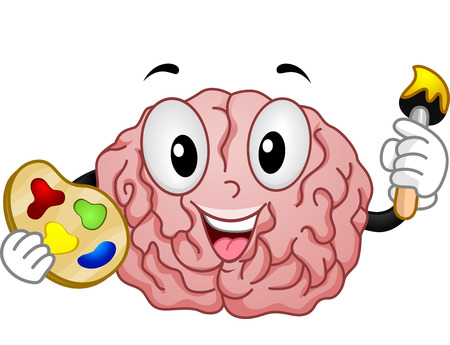 Mascot Illustration of a Brain Holding a Color Palette and a Paintbrush Stock Photo