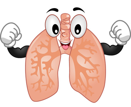 demonstrating: Mascot Illustration of the Lungs Demonstrating its Strength