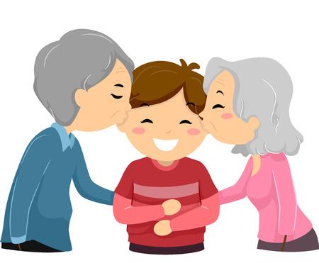 kin: Illustration of Grandparents Kissing Their Grandson on the Cheek Stock Photo