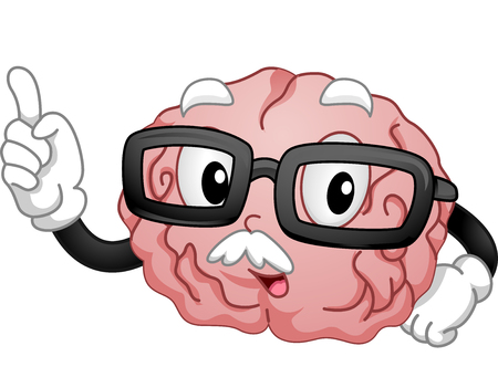 Mascot Illustration of a Spectacled Brain Teaching a Class