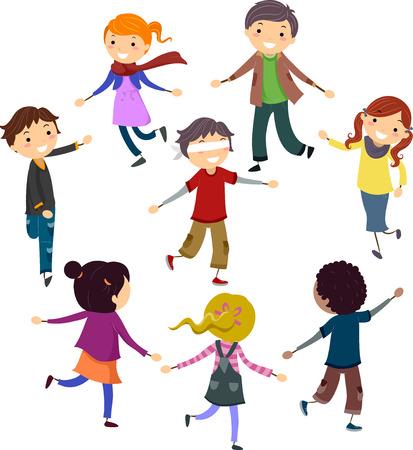 ojos vendados: Ilustración stickman de niños juegan a un juego de los ojos vendados Tag