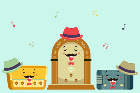 the song: Mascot Illustration Featuring Vintage Radios Singing a Song Stock Photo