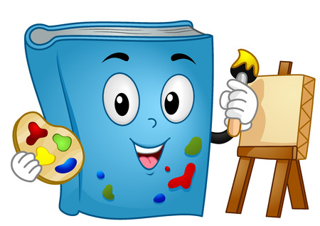 fine arts: Mascot Illustration of a Book Painting on Canvas Stock Photo