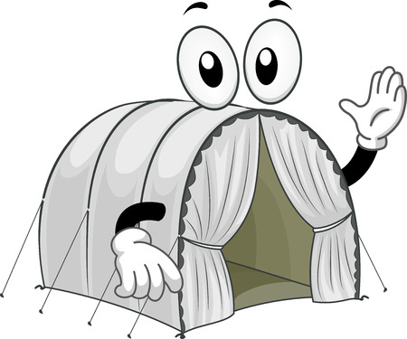 resettlement: Mascot Illustration of a Tent at a Refugee Camp