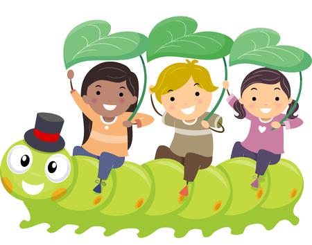 Stickman Illustration of Kids Playfully Riding a Caterpillar Stock Photo