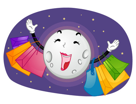 haul: Mascot Illustration of a Moon Going on a Shopping Spree