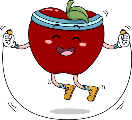 Mascot Illustration of an Apple Using a Jump Rope