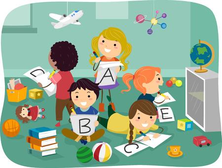 cs: Stickman Illustration of Kids Writing Letters of the Alphabet