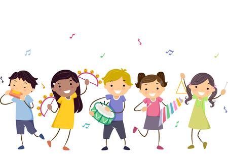 pandero: Ilustración stickman de niños jugando diferentes instrumentos musicales