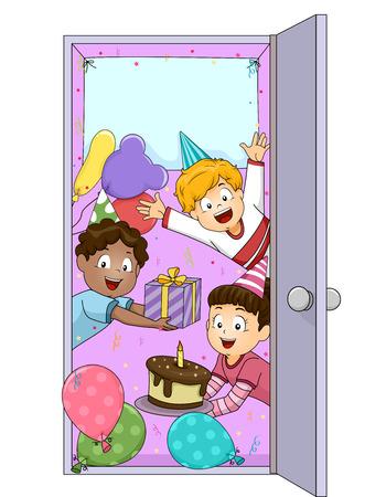 art door: Illustration of Children Welcoming Party Guests Stock Photo