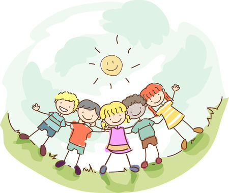 Stickman Illustration of a Group of Kids Hanging Out