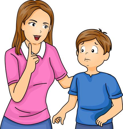 Illustratie van een moeder uitbrander van haar Zoon