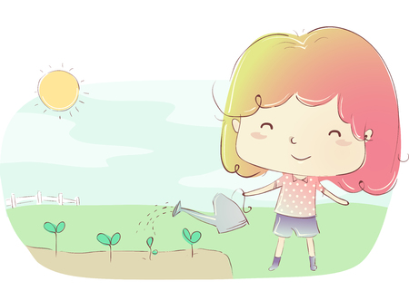 sprinklers: Illustration of a Little Girl Watering the Plants in Her Garden