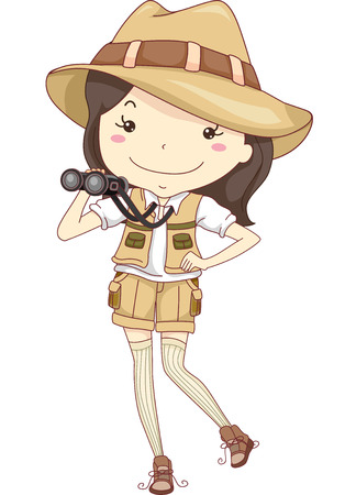 Illustration of a Little Girl Wearing a Costume