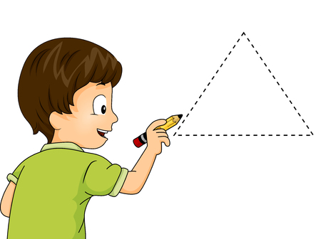 Illustration of a Little Boy Drawing a Triangle