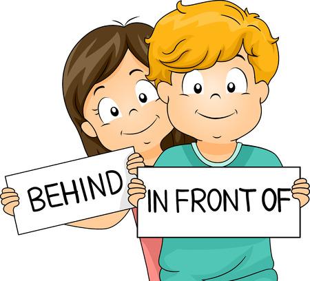 niños estudiando: Ilustración de un niño y niña demostrando lo que detrás y delante de la media Foto de archivo