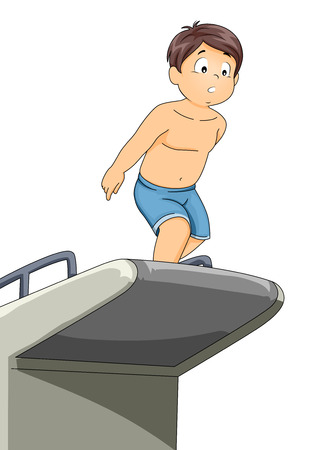 hesitate: Illustration of a Little Boy Preparing to Jump from a Diving Board
