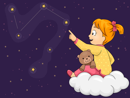 Illustration of a Little Girl in Pajamas Tracing Constellation Patterns