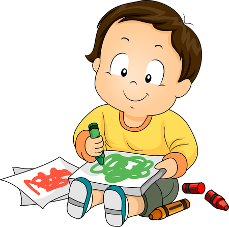 Illustration of a Baby Boy Drawing Doodles with Crayons