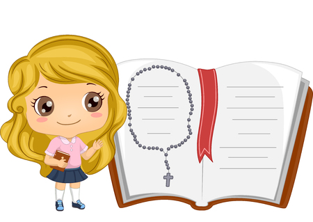 art book: Illustration of a Little Girl Standing Beside a Giant Bible with a Rosary in It Stock Photo