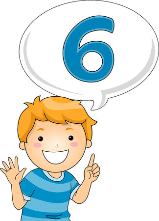 gesturing: Illustration of a Little Boy Gesturing the Number Six