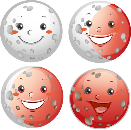 phases: Mascot Illustration Showing the Different Types of Lunar Eclipse Stock Photo