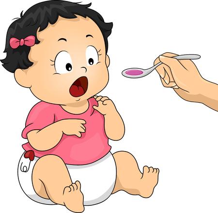 niños enfermos: Ilustración de un jarabe para la tos Madre que da a su hija recién nacida Foto de archivo