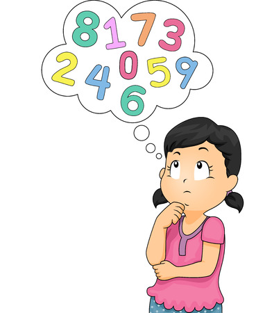 children studying: Illustration of a Little Girl Thinking of Numbers Stock Photo