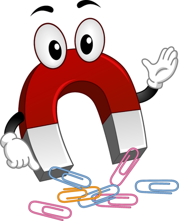 Mascot Illustration of a Magnet Attracting Paper Clips